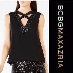 BCBGMAXAZRIA Luxurious Studded Crisscross-Neck Top